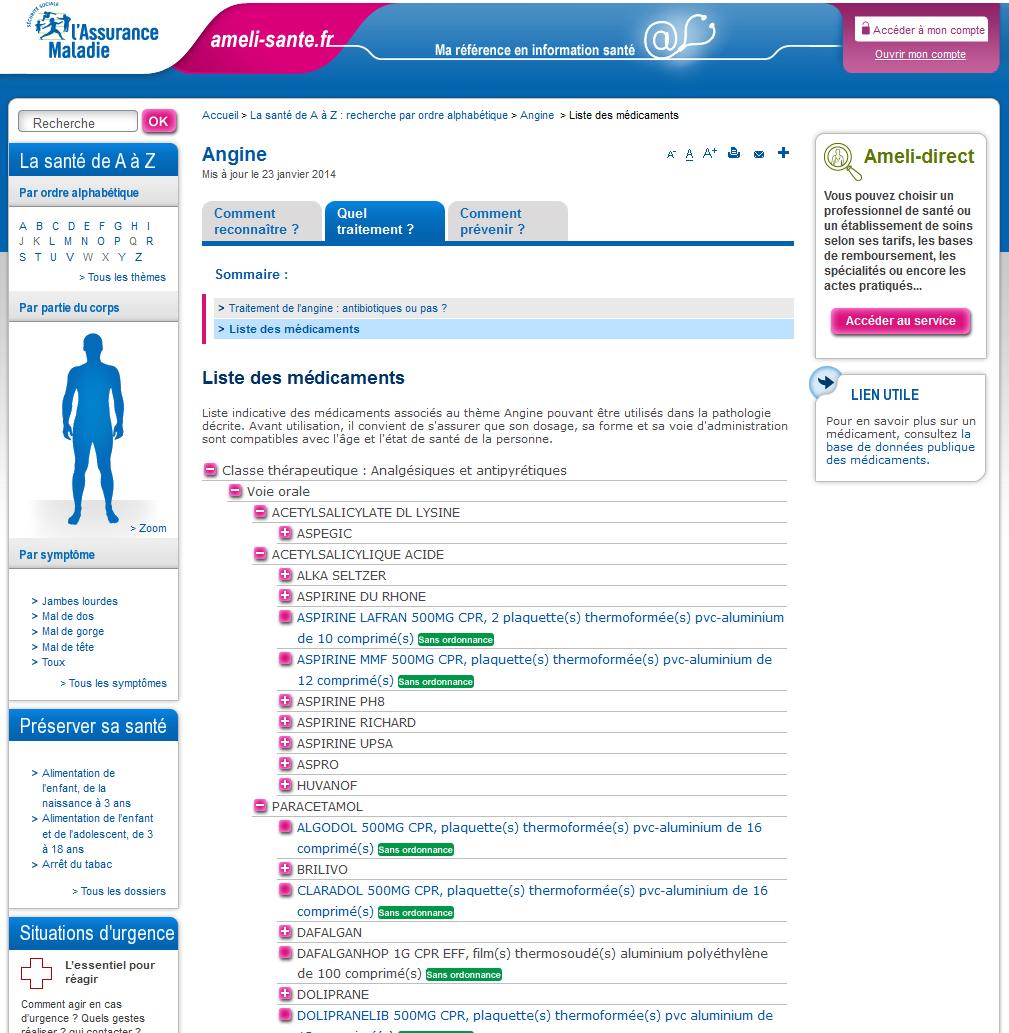 ameli santé_liste médicaments_angine, téléservices