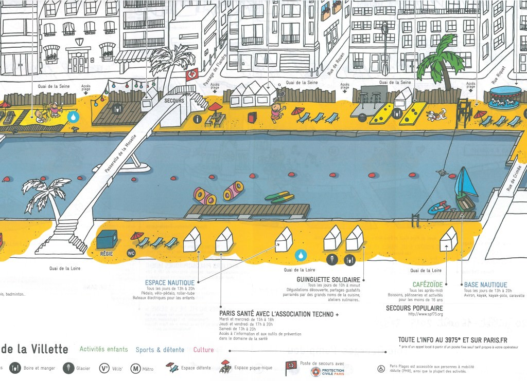 Plan-ParisPlagesVillette-2015, Paris Plages
