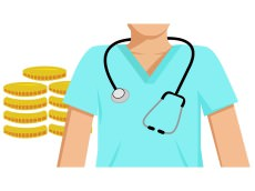 Flat vector image of a doctor with money behind him