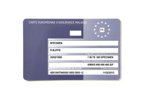 Carte Européenne d'assurance maladie détouré et isolé sur fond blanc