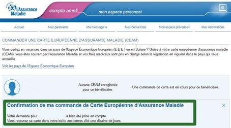 commande CEAM, carte europénne assurance maladie