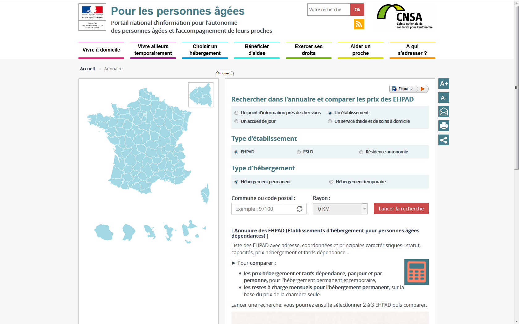 Mise en ligne du comparateur officiel des prix des ehpad for Comparateur hotel paris prix