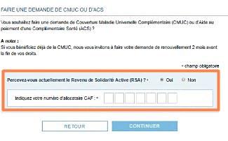 demande de CMU-C, ACS, numéro Caf