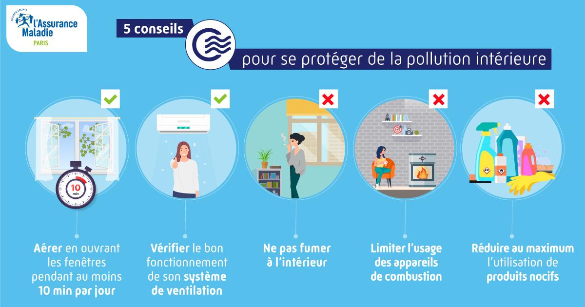 visuel graphique : 5 conseils pour réduire les risques de pollution intérieure